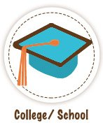 Blue college mortar board with an orange tassel - School / College Icon