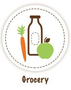 Carrot, MIlk Bottle and green apple Icon