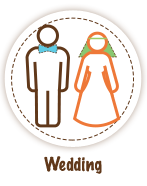 Outline of a bride and groom standing next to each other - Wedding Icon