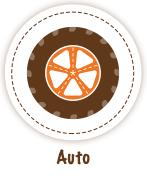Tire with orange hubcap - Auto Icon