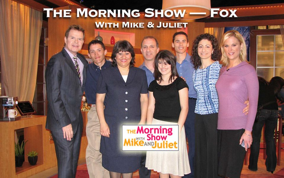 Steve & Annette Economides, America's Cheapest Family, on the set of the Mike and Juliet Show on Fox.