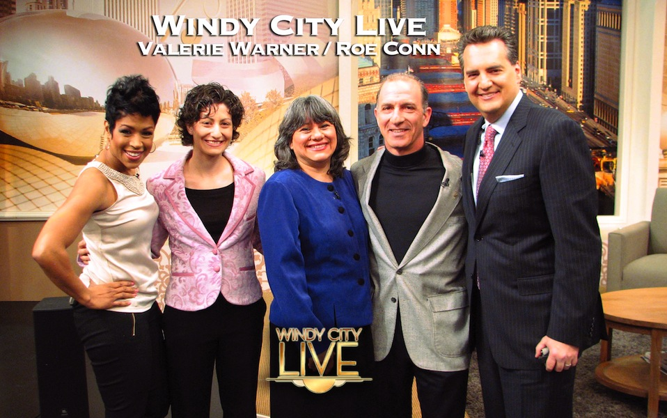 Steve & Annette Economides with daughter Becky on the Windy City Live set with Valerie Warner and Roe Conn