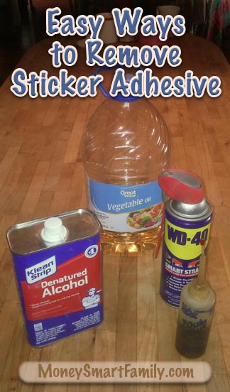 Product picture of denatured alcohol, wd40, vegetable oil and motor oil.