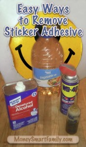 4 solvents that remove sticky, sticker adhesive. Photo of WD40, denatured alcohol, vegetable oil and motor oil.