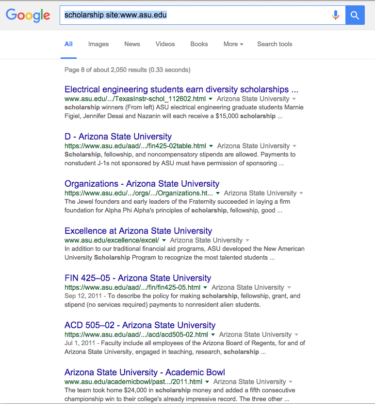 Google Search results for Scholarships