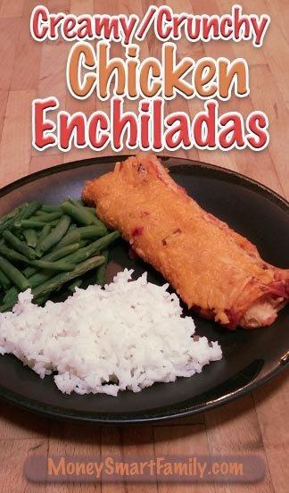 A Simple, Creamy, Cheesy Chicken Enchilada Recipe. #EasyChickenEnchiladas #CheesyChickenEnchiladas #CreamyChickenEnchiladas #TurkeyEnchiladas #CrunchyChickenEnchiladas