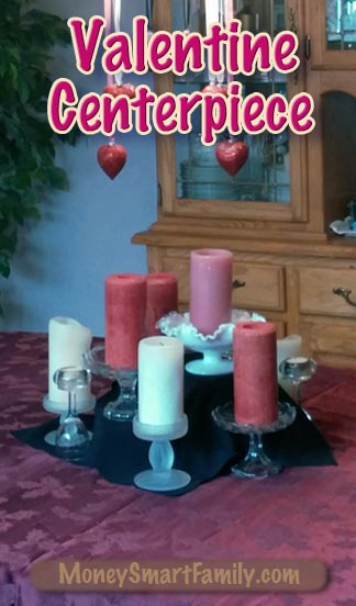 A Beautiful Valentine Centerpiece Decoration made with Pillar Candles.