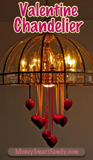 A Simple Valentine Chandelier Decoration you could do with kids or grandkids!