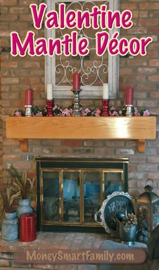 A Simple Valentine Mantle Decor made with Pillar Candles!