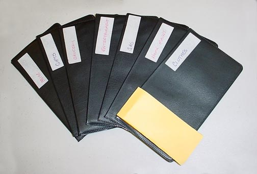 A fanned shape of black plastic money budgeting envelopes with a white label on each one. Bart & Nancy Good thinks this is the best budget system there is.
