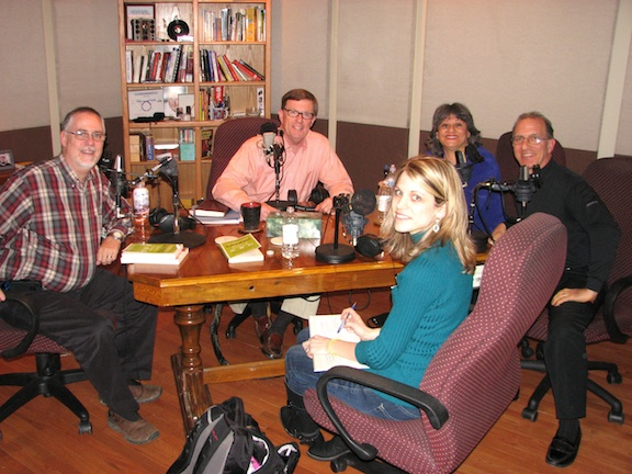 Dennis Rainey, Crystal Paine, Bob Lepine, Steve Economides, Annette Economides in the studio of Family Life Today radio.