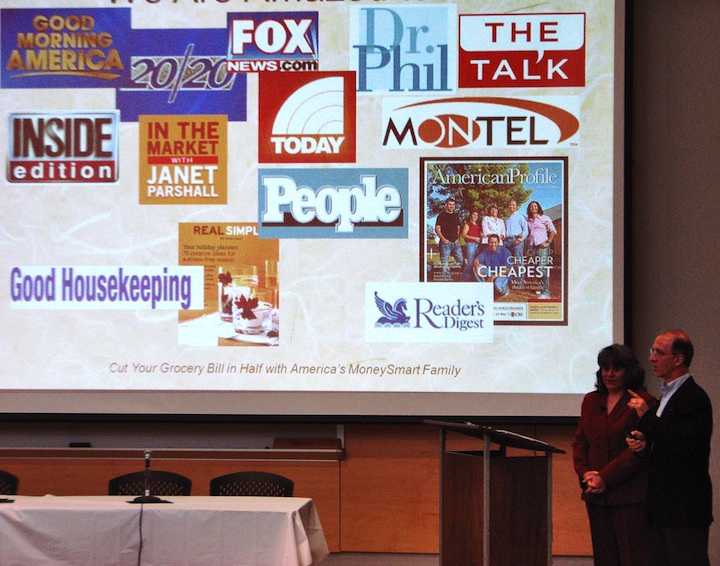 Steve & Annette Economides presenting the media outlets they've appeared on.