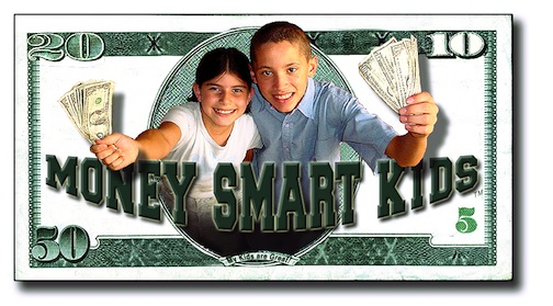 2 kids holding handfuls of money on a dollar bill — The MoneySmart Kids Financial Training Kids for Smart Money