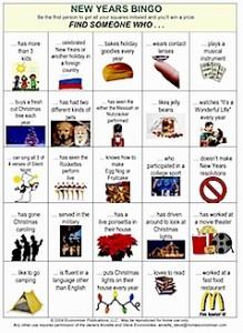 New Years Eve Family Bingo Sheet.