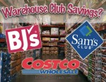 Aisles of a warehouse club with logos of Bjs, Sam's and Costco over them.