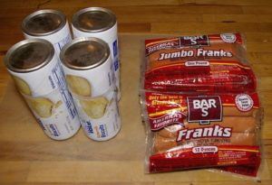 Four cans of crescent rolls and two, one pound packages of hot dogs.