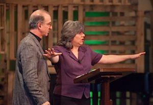 Annette Economides Keynote National speaker on stage with husband Steve.
