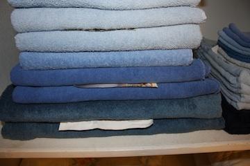 A stack of blue towels on a linen closet shelf.