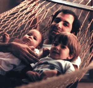 Dad with John and Becky in a hammock.