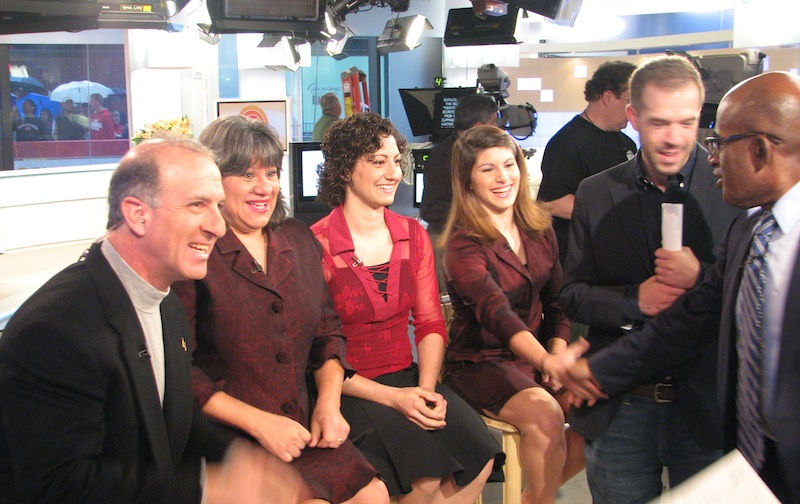 Steve and Annette Economides with Abbey and Becky, meeting Al Roker and Josh Weiner on the Today Show set.