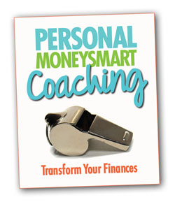 Personal MoneySmart Coaching words with a silver whistle