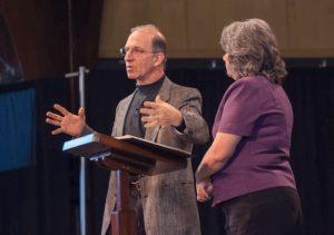 Steve Economides Keynote, national speaker on stage with wife Annette