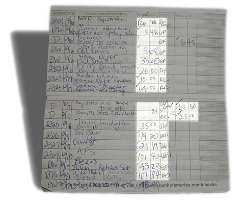 A checkbook register that is used as a part of a powerful budgeting system with account codes written on it.