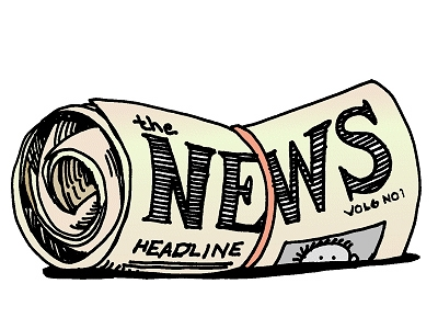 A drawing of a rolled up newspaper with the headline NEWS showing. Bound by a rubberband.