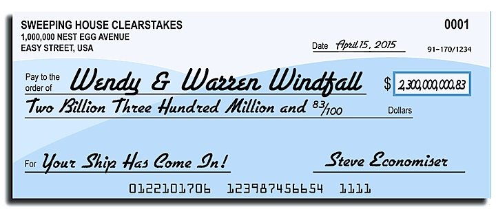 Blue and white check written out to Warren Windfall.