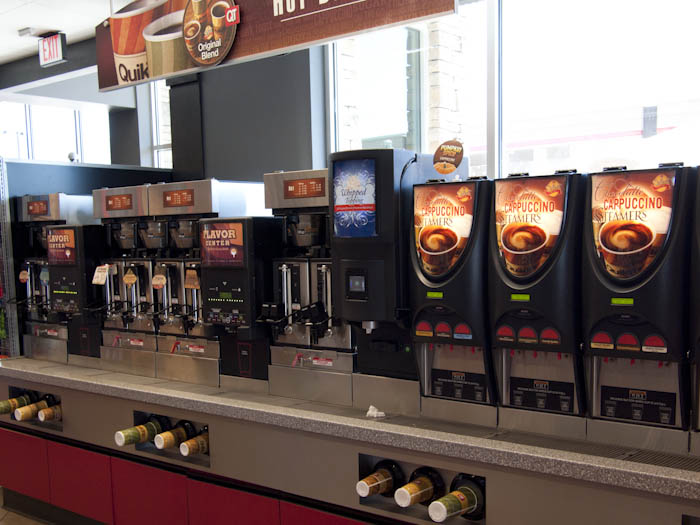 Coffee dispensers at QuikTrip convenience / gas stores.