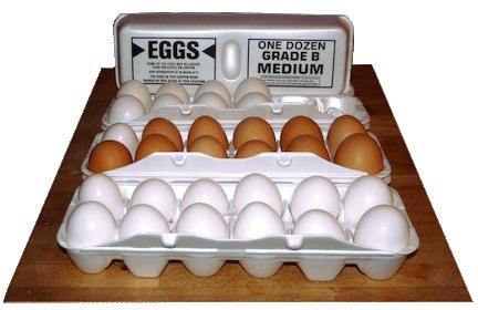 Three cartons of grade b eggs from Kroger, in white styrofoam egg cartons.
