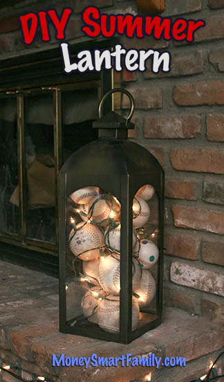 A Crafty Summer Lantern Decoration with Baseballs and Twinkle Lights!