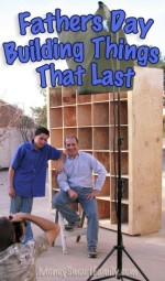 Steve and Joe Economides standing in front of a cubbie hole shelf unit they built.