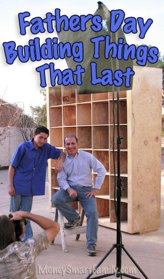 Steve and Joe Economides standing in front of a cubbie hole shelf unit they built.
