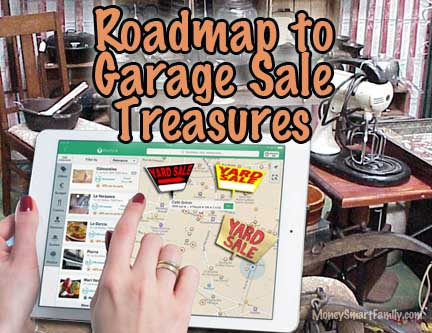 iPad with a woman's hands using a map to find garage sales.