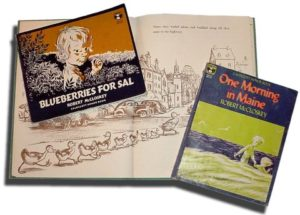 Robert McClosky Books - Blueberries for Sal, Make way for the ducklings, one morning in maine book covers.