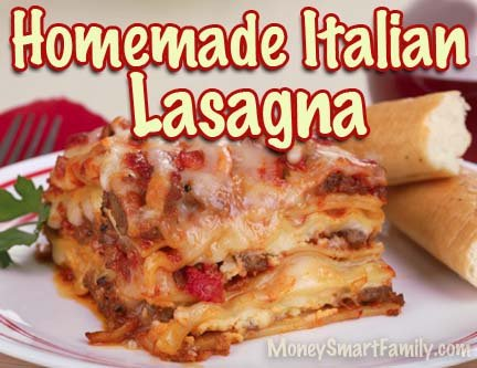 Cheesy Italian lasagna recipe with meat - step by step directions - you can cook it!