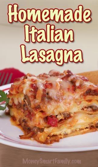 Delicious Homemade Italian Lasagna Recipe - step by step directions! #HomemadeLasagna #GroundBeefLasagna #ItalianLasagna