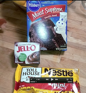 Chocolate lava cake ingredients - devil's food cake, jello instant pudding and chocolate chips.