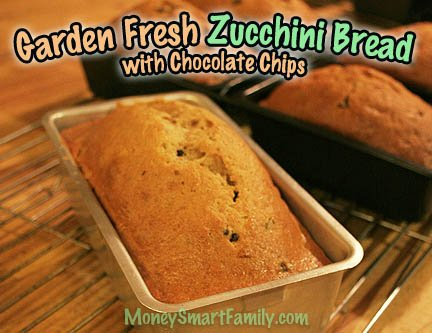 Several loaves of fresh zucchini bread with chocolate chips sitting in silver and black metal loaf pans.