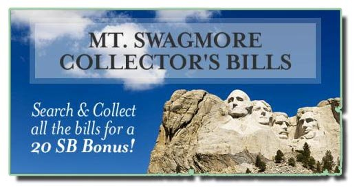 Picture of Mount Rushmore with blue sky in the background - headline Mt. Swagmore Collector's Bills.