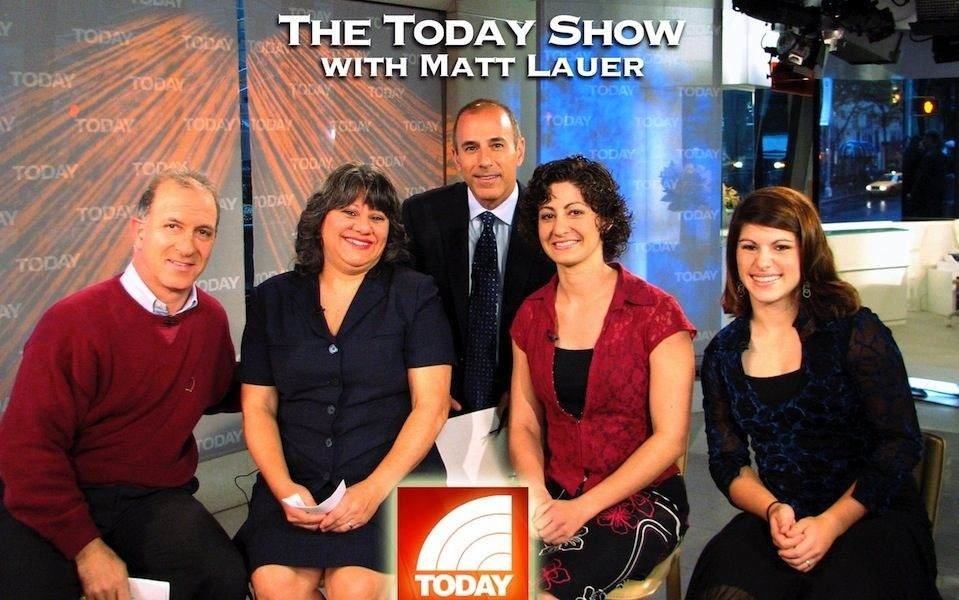 Today Show host Matt Lauer with America's Cheapest Family, Steve, Annette, Becky and Abbey Economides.