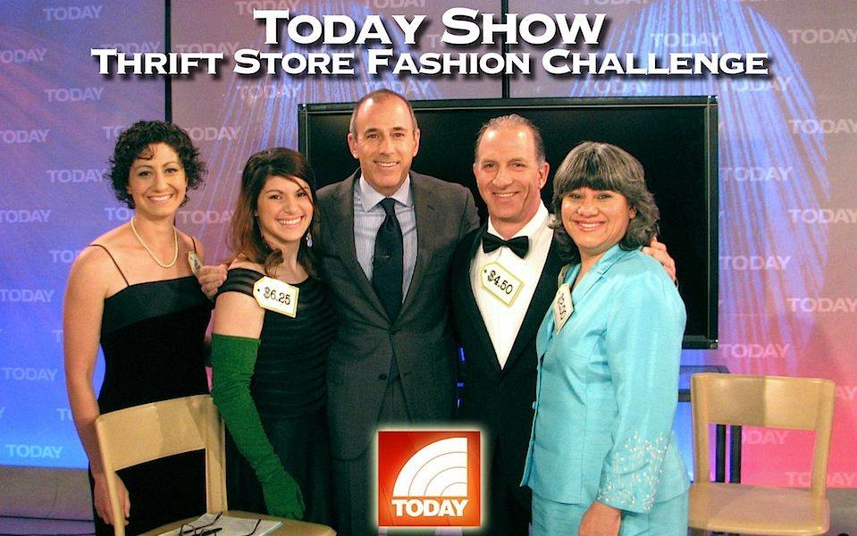 Steve & Annette Economides with Today Show Host Matt Lauer modeling thrift store outfits.