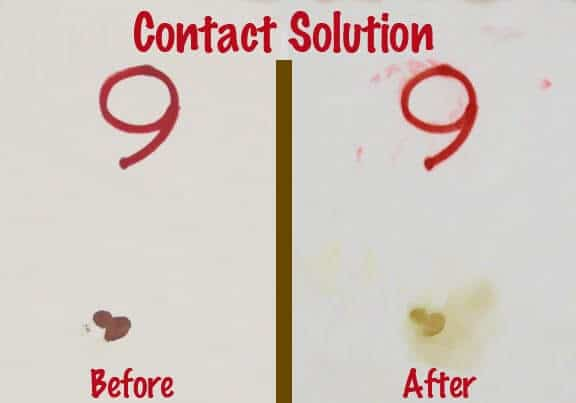 Contact Solution Blood Spot Removal Test