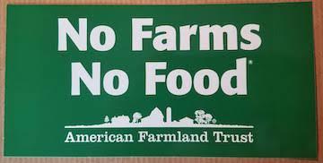 A free bumper sticker from America's Farmland Trust.
