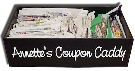 Annette's coupon caddy and filing system.