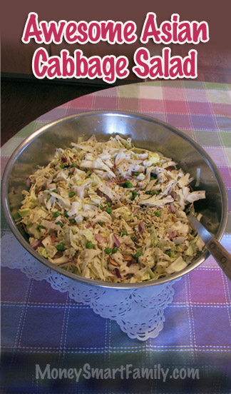 Awesome Asian Cabbage Salad. Easy to Make salad and Delicious! #AsianCabbageSalad #CabbageSalad #CabbageRecipe #CabbageST.PatricksDay