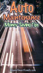 Auto maintenance money saving tips.