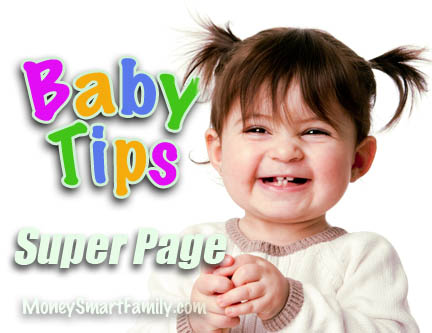 A smiling baby loves money-saving tips.