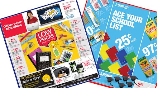 Back to school office supply flyers - loss leaders.